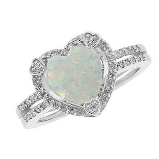 Beautiful Opal Ring October Birth Stone Sterling Silver