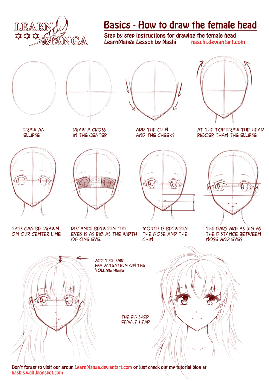 Photo of Learn Manga: How to draw the female head front by Naschi on DeviantArt