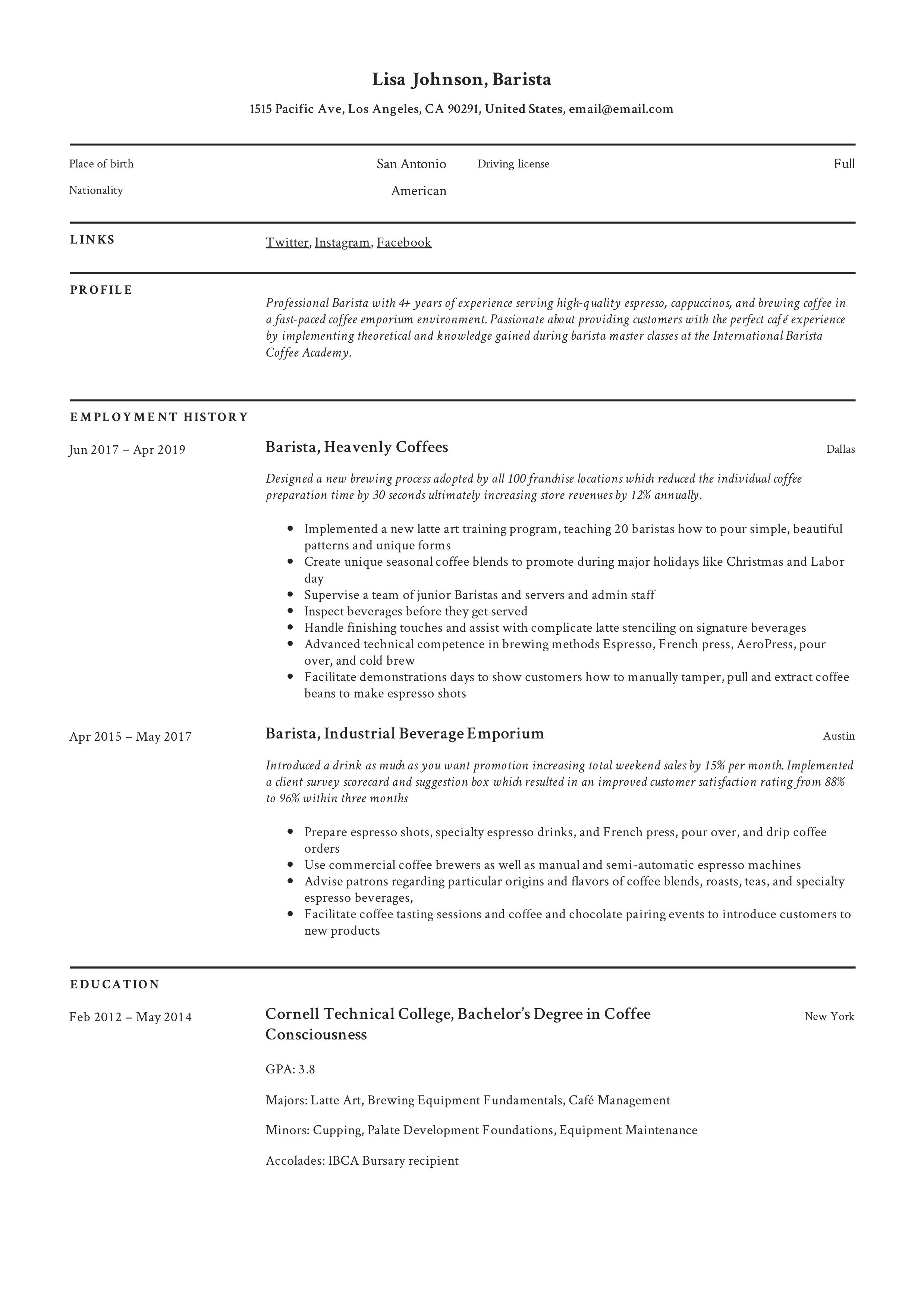 Barista Resume & Writing Guide in 2020 | Barista, Guided ...
