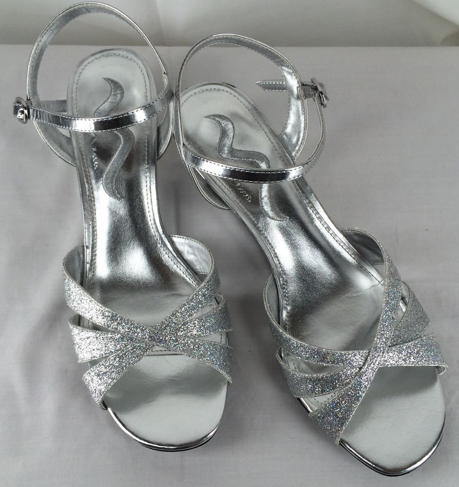 Nina 9 Silver Strappy Sandals Wedge Heels Wedding Homecoming Shoes