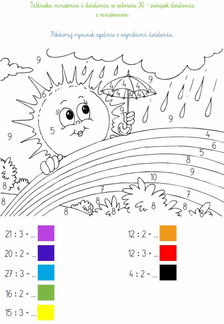 Blog Edukacyjny Dla Dzieci Tabliczka Mnozenia I Dzielenia W Zakresie 30 Zwiazek Dzielenia Z Mnozeniem Math Crafts Math Coloring Worksheets Math Coloring