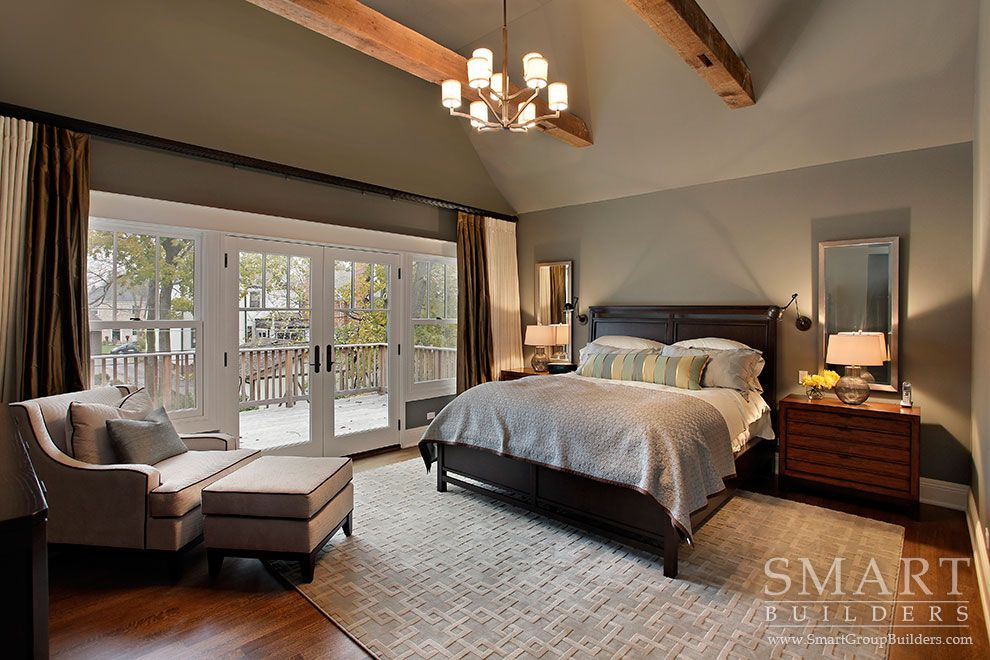 Contemporary Craftsman Style Custom Home Master Bedroom Suite Hardwood Floors Exposed Beam Ceiling