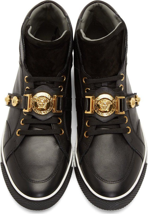 Versace Black Leather & Suede Medusa High-Top Sneakers