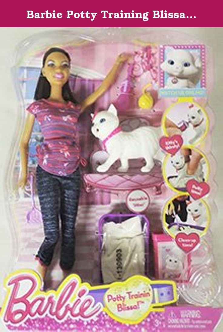 2012 Barbie Potty Trainin Training Blissa Number Aa African American Barbie Fashion Doll And Pet Kitten Kitty C African American Fashion Cat Toys Playset