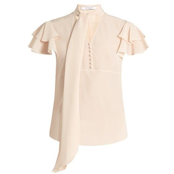 Givenchy Neck-tie short-sleeved silk blouse (65.055 RUB) ❤ liked ...