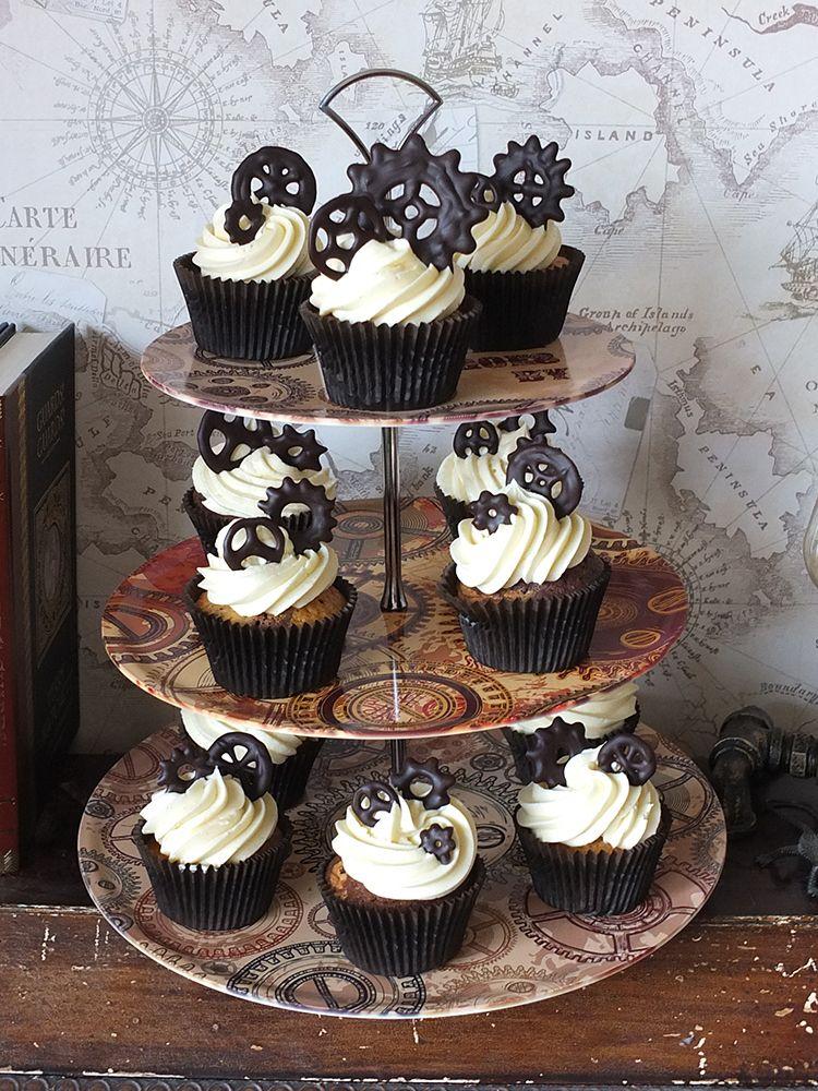 Check out dark chocolate bourbon vanilla steampunk for Halloween mini cupcake decorating ideas