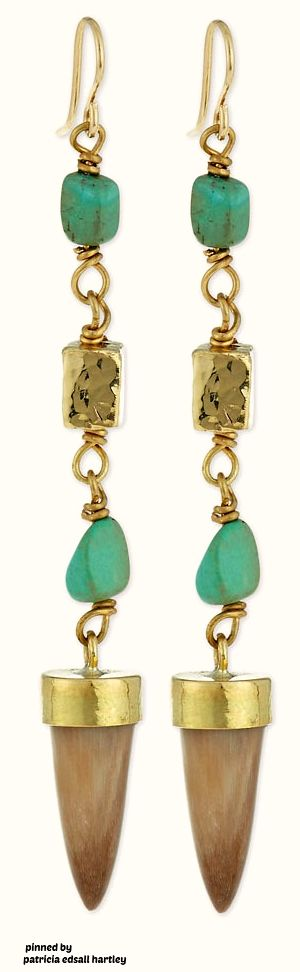 Ashley Pittman Uti Light Horn & Turquoise Drop Earrings eLmNbH8P