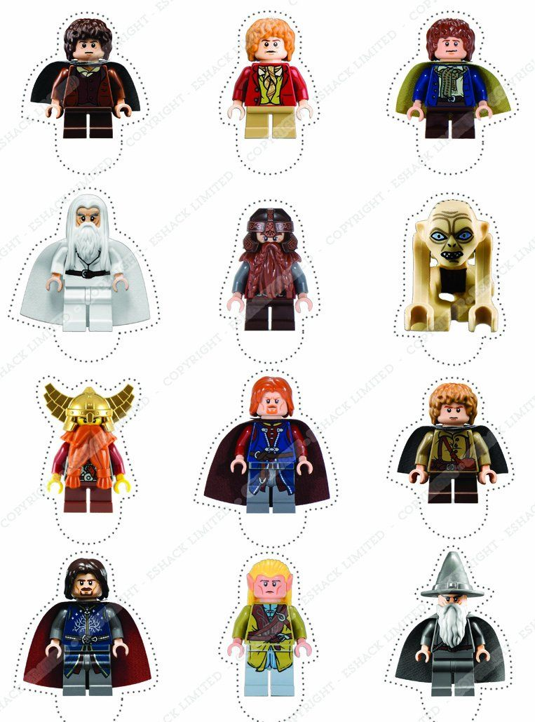 Cakeshop 12 x PRE-CUT Lego Lord of the Rings / The Hobbit Stand Up ...