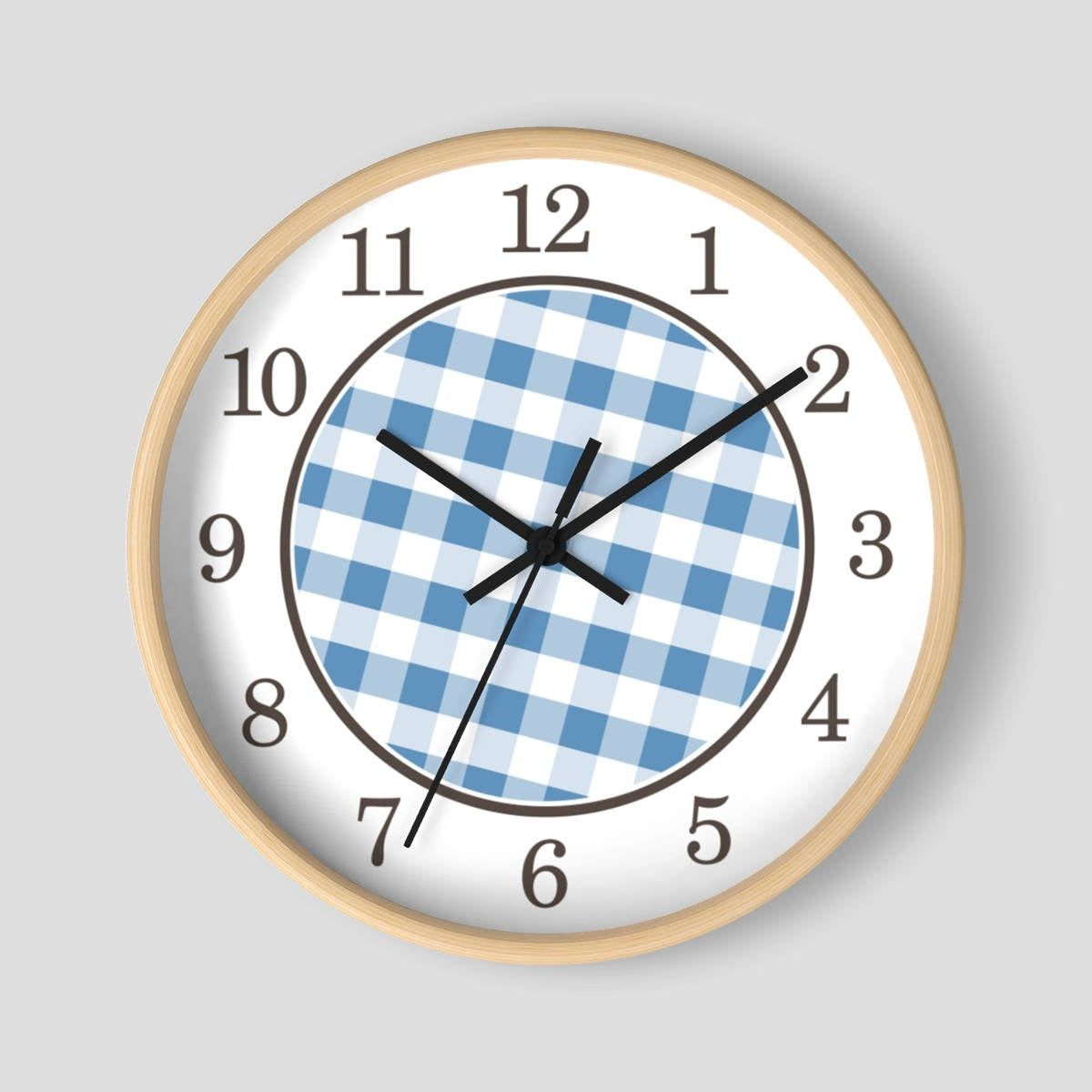 5 Star Review Love The Clock It Looks Real Pretty In My Kitchen Thank You Joann Blue Gingham Wall Clock Pattern In Blue In 2020 Wall Clock Clock Black Clocks