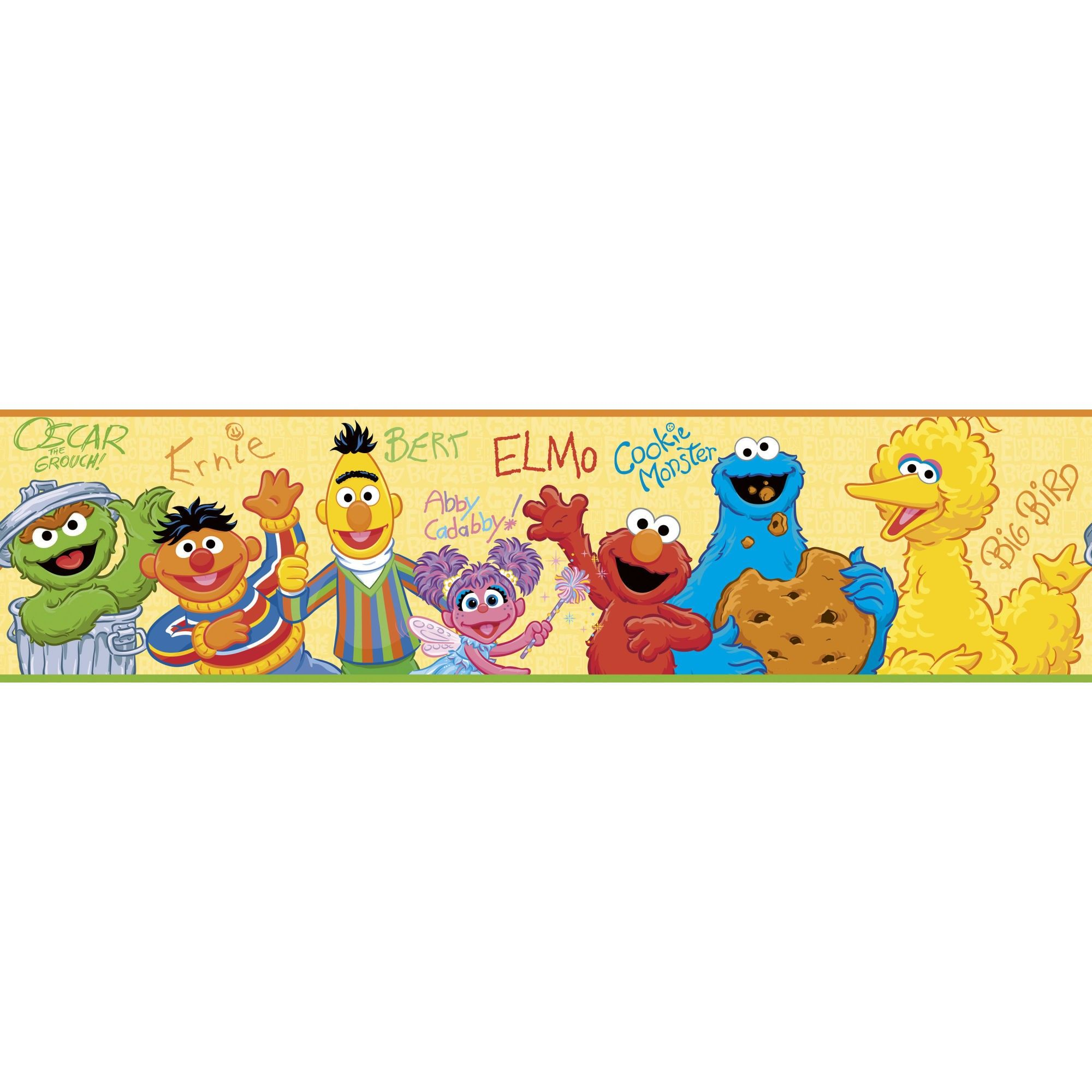 Room Mates Licensed Designs Sesame Street Peel & Stick Wall Border ...