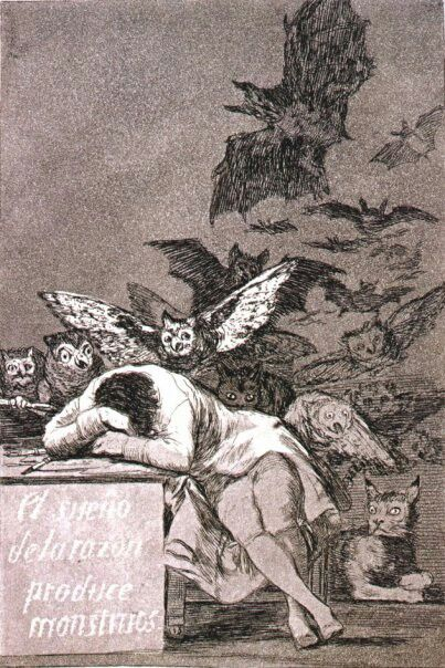 """Goya, """"El sueño de la razón produce monstruos"""" A beautiful print done by Goya, in English """"The Sleep of reason Produces Monsters, """" was part of a series that served as political commentary."""