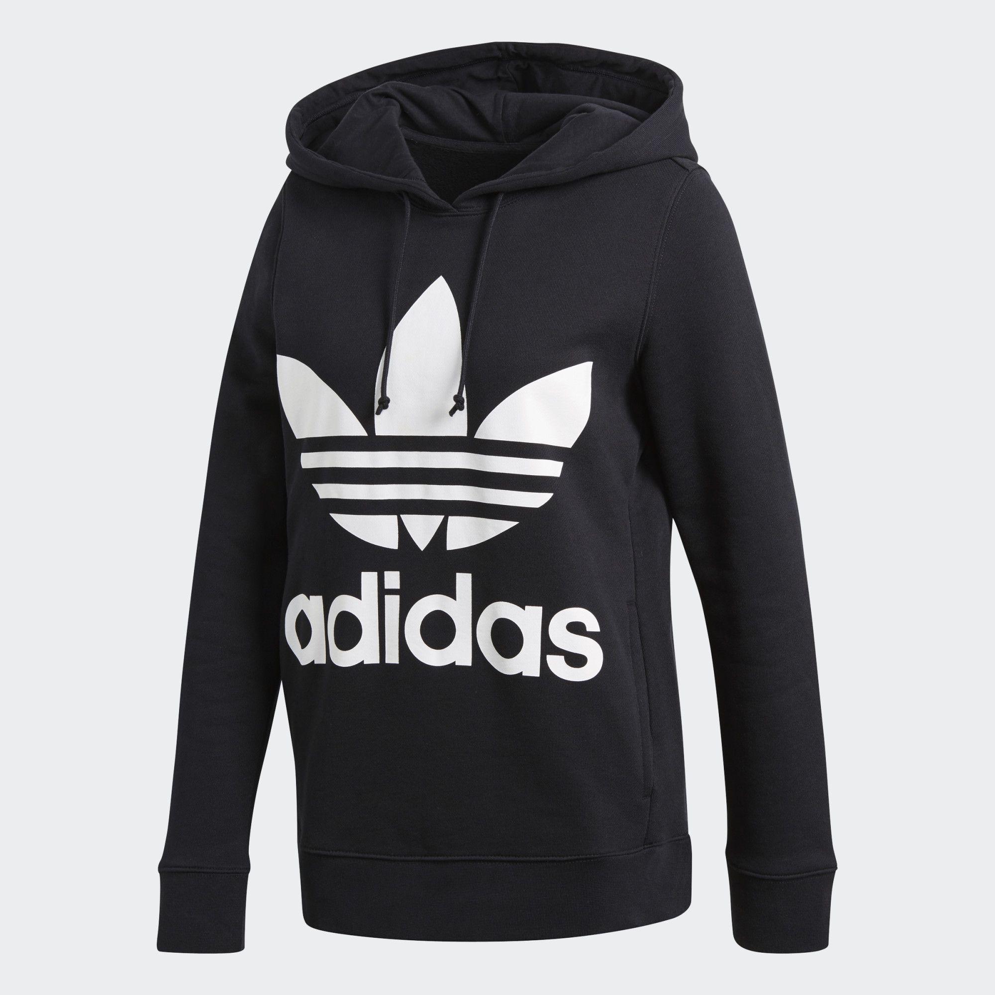Adidas Trefoil Hoodie Black Adidas Us Adidas Originals Women Addidas Shirts Hoodies [ 2000 x 2000 Pixel ]