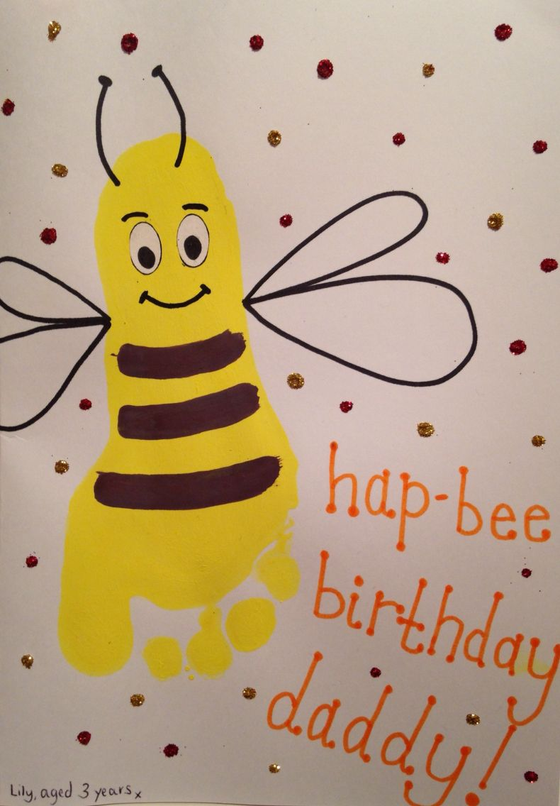 Card Design Ideas For Daddy Hap Bee Birthday Footprint