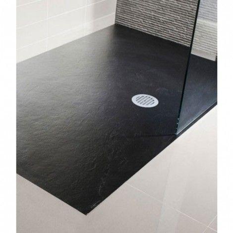 simpsons black textured slate effect shower tray 1200 x. Black Bedroom Furniture Sets. Home Design Ideas