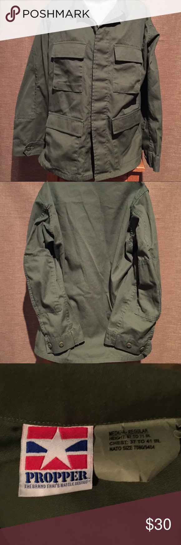 """PROPPER size Medium Combat Military jacket/shirt This is a Size Medium Propper Combat Military Shirt Jacket Olive Green Pll100-98-C-9600.  Inside tag says Medium-Regular.  Height: 67"""" to 71"""".  Chest: 37-41"""".  NATO size -7080/9404.  4 pockets in front. Hidden button pockets.  Button down front with hidden buttons.  Excellent Condition.  PROPER, the brand thats battle tested. PROPPER Jackets & Coats Military & Field"""