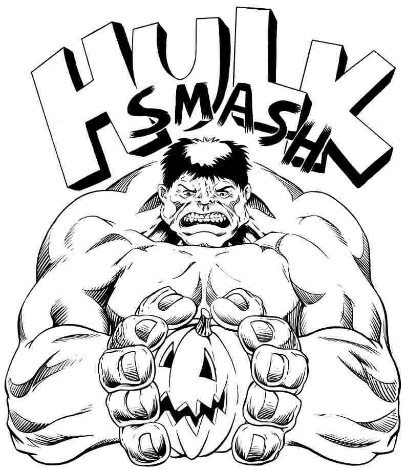 Colouring Pages Superhero Hulk Free For Kids Boys 49926