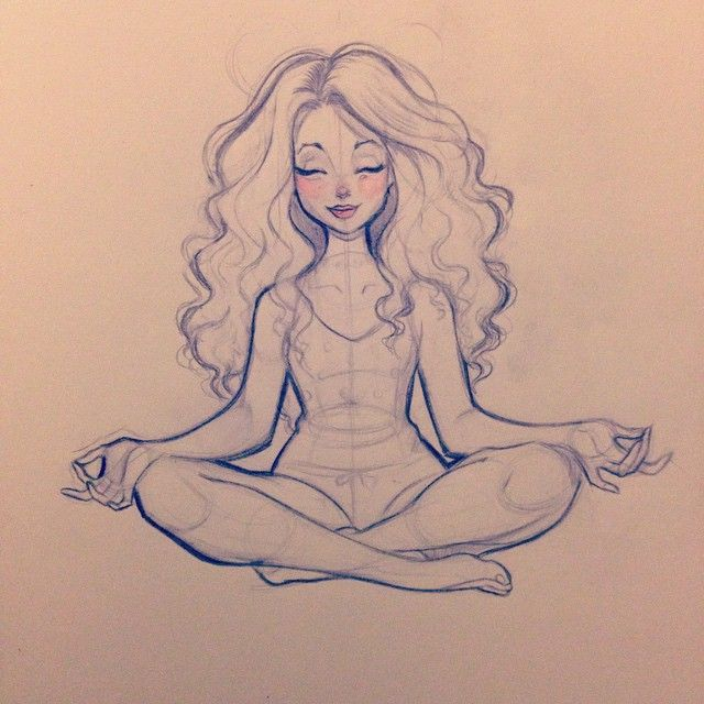 Nicole Lee Anne On Instagram Breathe Sketch Meditate Yoga Curlyhair Illustration Design Girl Drawings Sketches Character Drawing