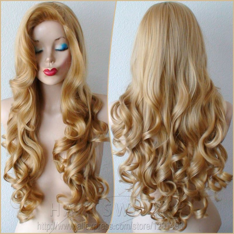 Golden Blonde Wig Long Curly Hairstyle Big Swept Bangs