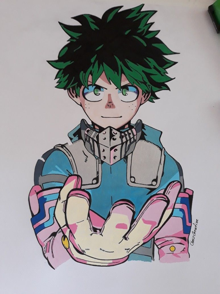 My Hero Academia J Ai Realise Mon Dessin Pour Matrice Pour Faire Un Tableau Sur Bois My Draw Is Realize For Layout For Make One Hero Deku Boku No Hero My Hero