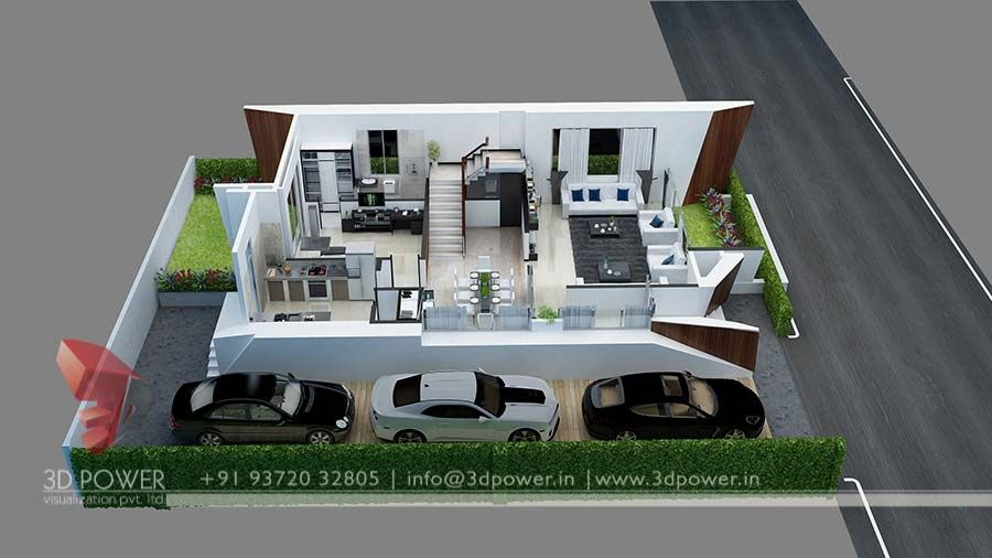 3d bungalow floor plan sweet homes pinterest for Indian bungalow designs and floor plans