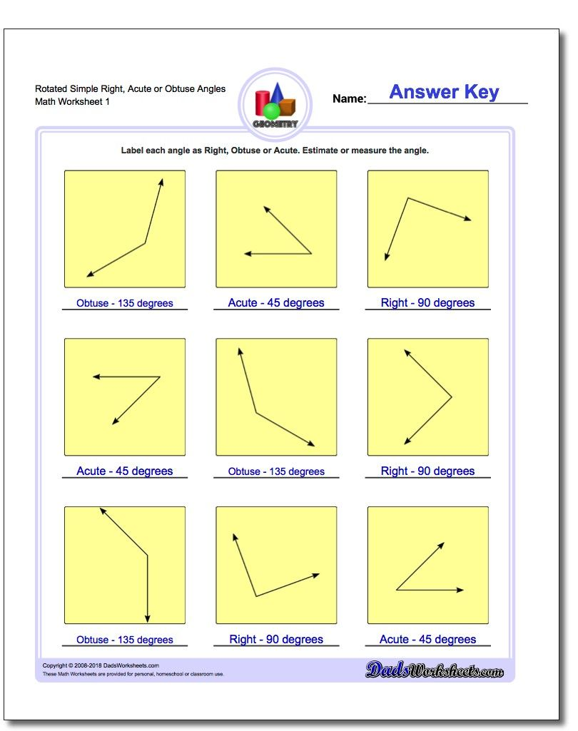 Rotated Simple Right Acute Or Obtuse Angles Worksheet Basic Geometry Worksheet Basic Geometry Worksheets Angles Math