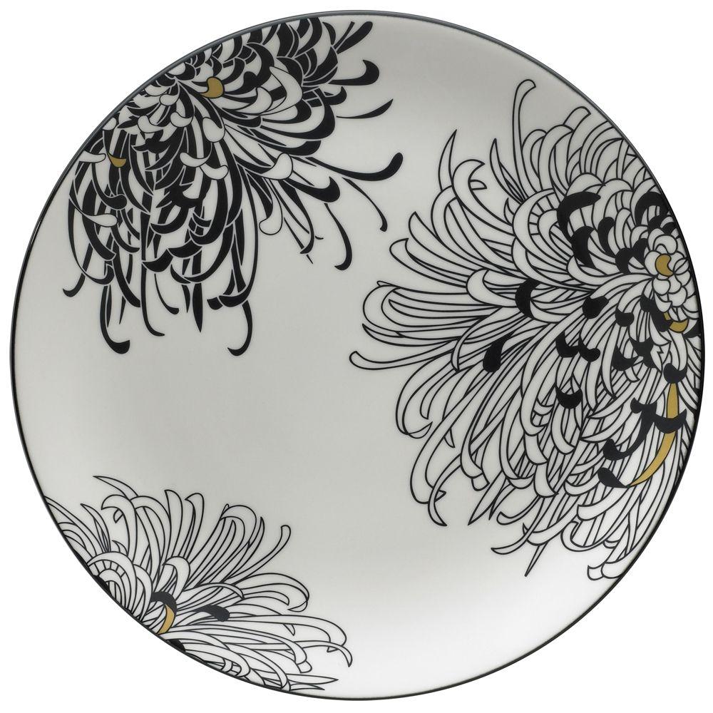 Denby Monsoon Chrysanthemum Round Platter Disc Porcelain Art Porcelain Painting Pottery
