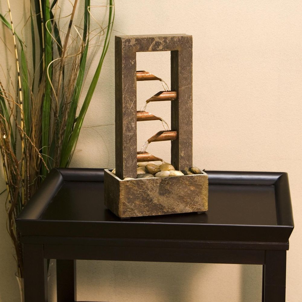 Natural Slate And Copper Tabletop Water Fountain Home Decor Residential KenroyHome
