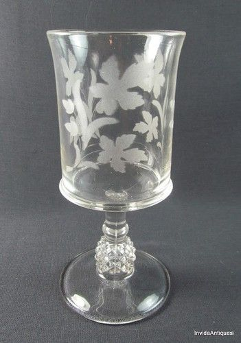 Ripley Glass Pavonia Water Goblets Pineapple Stem Clear Etch EAPG ca1885