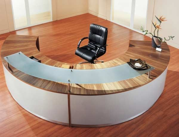 Half Round Laminate Desk With Floating Glass Transaction Counter