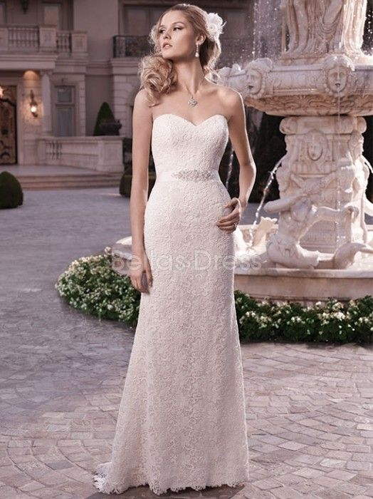 sheath-column-strapless-sweep-brush-train-with-sash-ribbon-lace ...