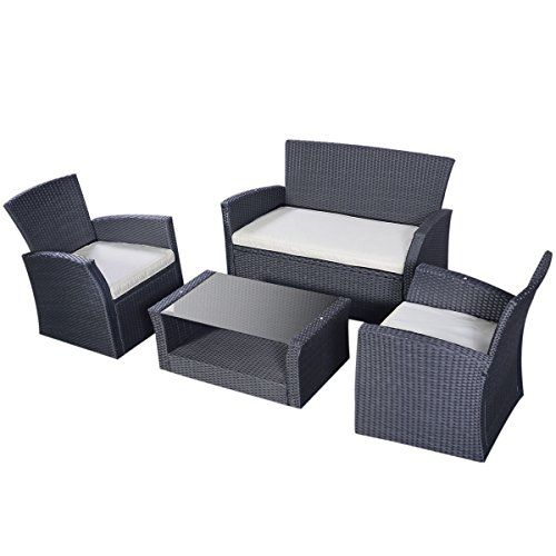 Tangkula Outdoor Cushioned Wicker Furniture Set Sofa Tea Table
