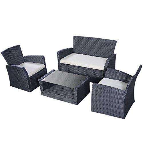Tangkula Outdoor Cushioned Wicker Furniture Set Sofa Tea Table