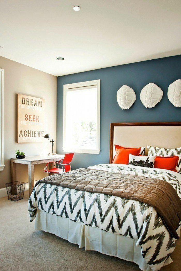 wohnideen schlafzimmer blaue akzentwand wanddeko Schlafzimmer