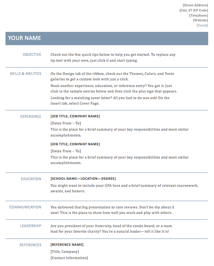 basic resume template  timeless design