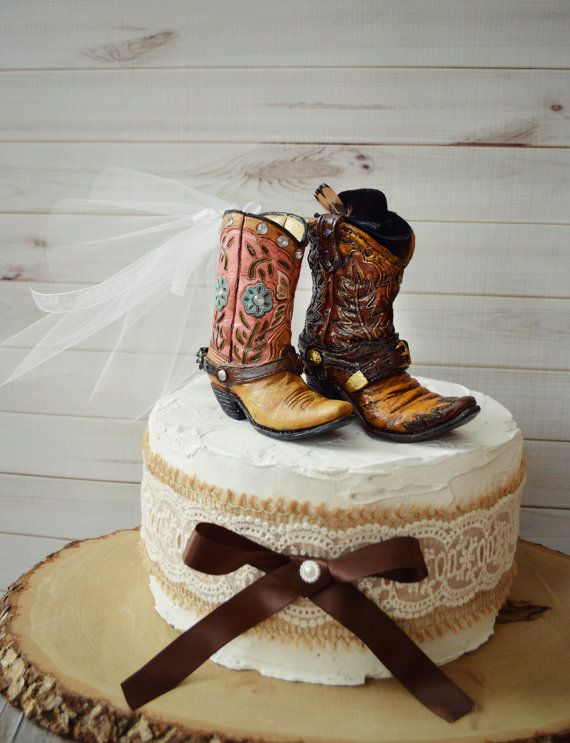 Cowboy Boot Wedding Cake Topper For Grooms Cake Western Etsy Wedding Cowboy Boots Cowboy Boot Cake Cowgirl Boots Wedding