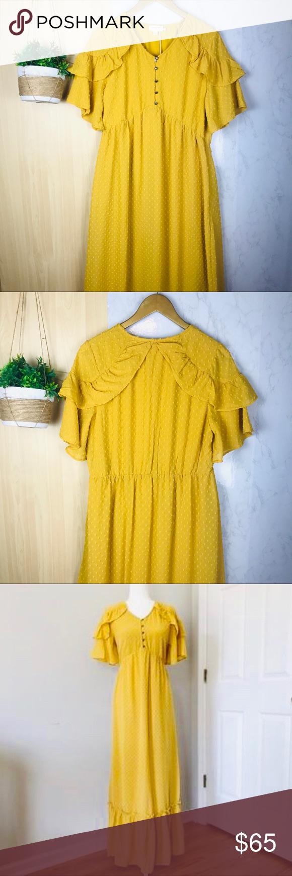 47f63c7d1a7d NWT Orange Creek L.A.   mustard yellow dress Orange Creek L.A.   mustard  yellow pilgrim like dress Beautiful pilgrim like dress with Swiss dot  pattern in ...