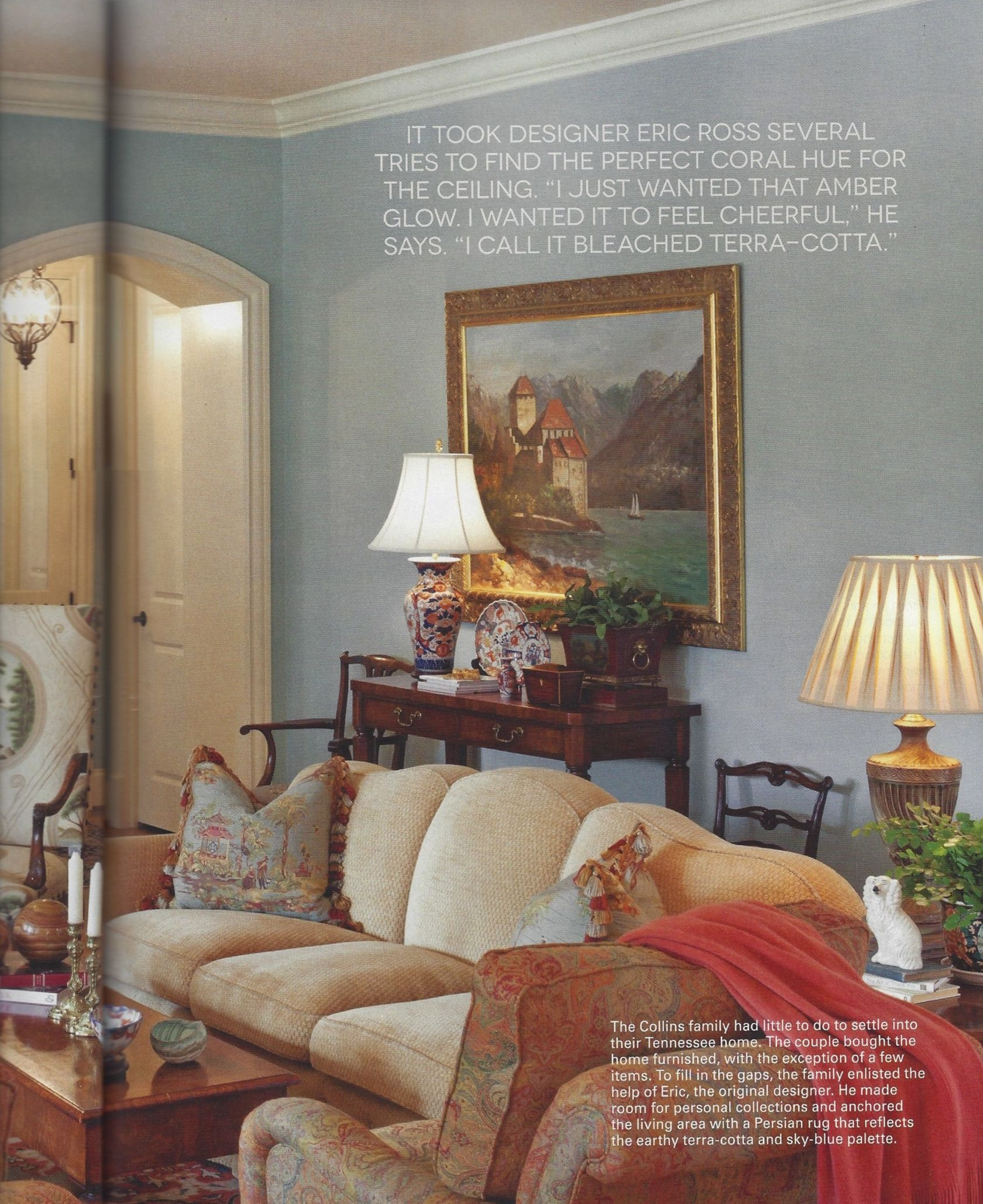 Living Room Combines Luxurious Upholstery Art And Antiques