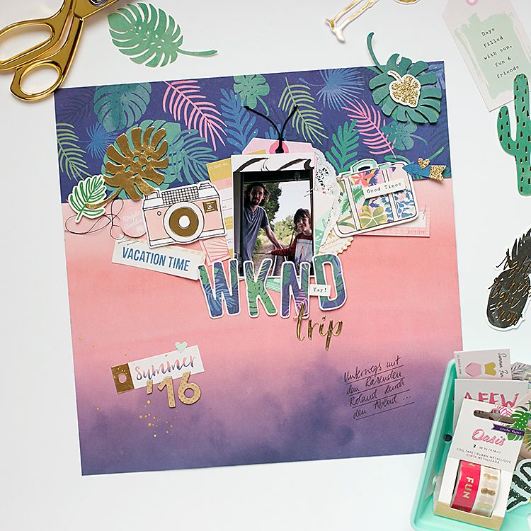 Mojosanti Pretty Paper Things: 'WKND trip' Scrapbooking Layout with Oasis Crate P...