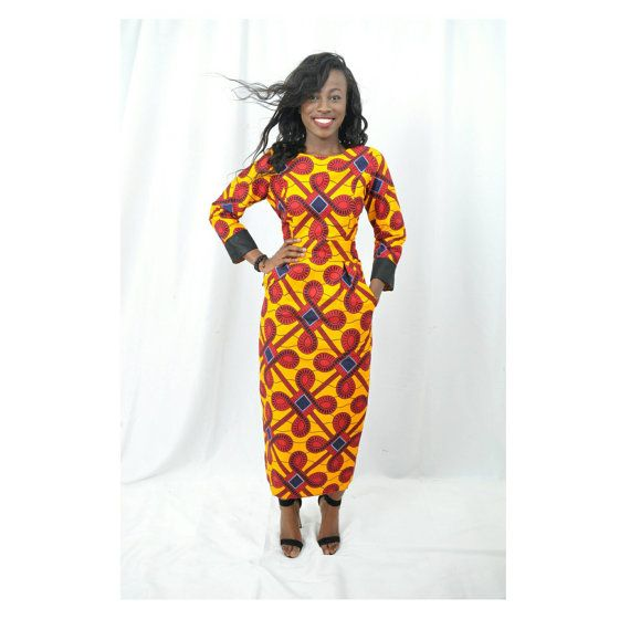 Dear customer, Ankara dress is slightly longer than midi length. It has a torso length zipper closure in the back and pockets on both sides. It fully lined with knitted seams. (model is 57). *****PLEASE REFER TO OUR SIZE CHART FOR THE BEST FIT OR REQUEST CUSTOM MEASUREMENTS AT CHECK OUT AT NO EXTRA CHARGE***** Standard shipping is two weeks. Express shipping is one week. Request a rush order by e-mail. FREE GIFT FOR MULTIPLE ORDERS. This African dress is made of 100% ankara wax print an...