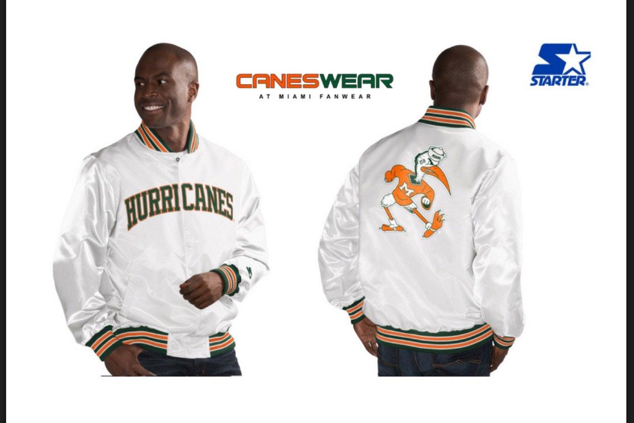 Miami Hurricanes Classic Starter Jacket Vintage White Jackets White Vintage Miami Hurricanes