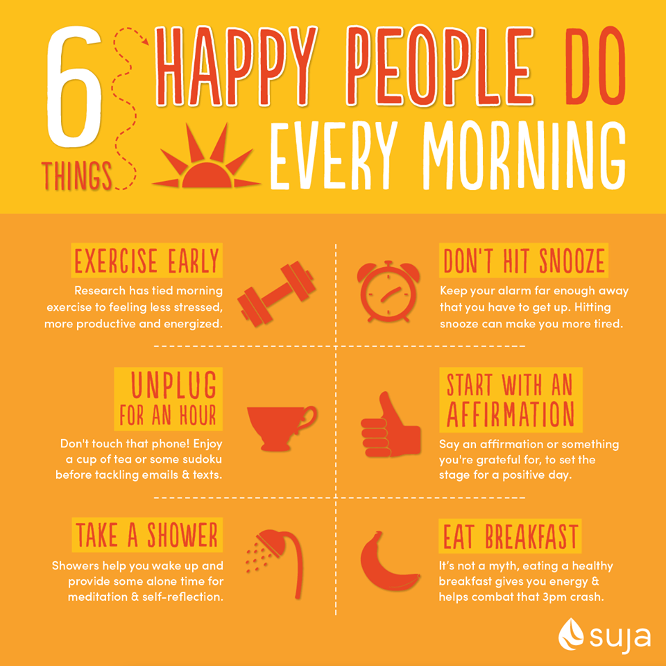 Things Happy People Do in the Morning Healthy morning