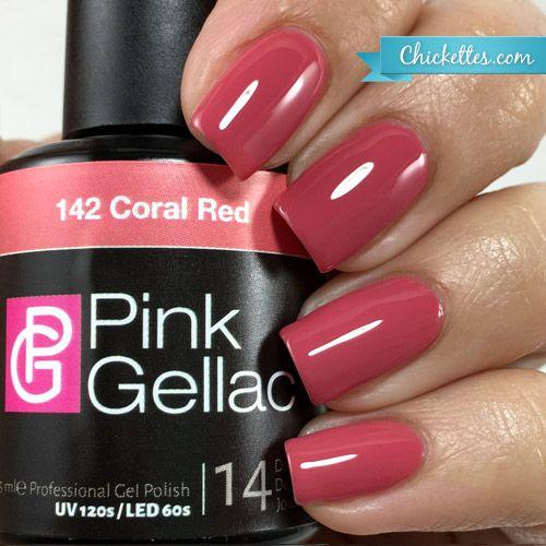 142 Pink Gellac Coral Red Nagels Gel Nagel Kleuren Nagellak Ideeen