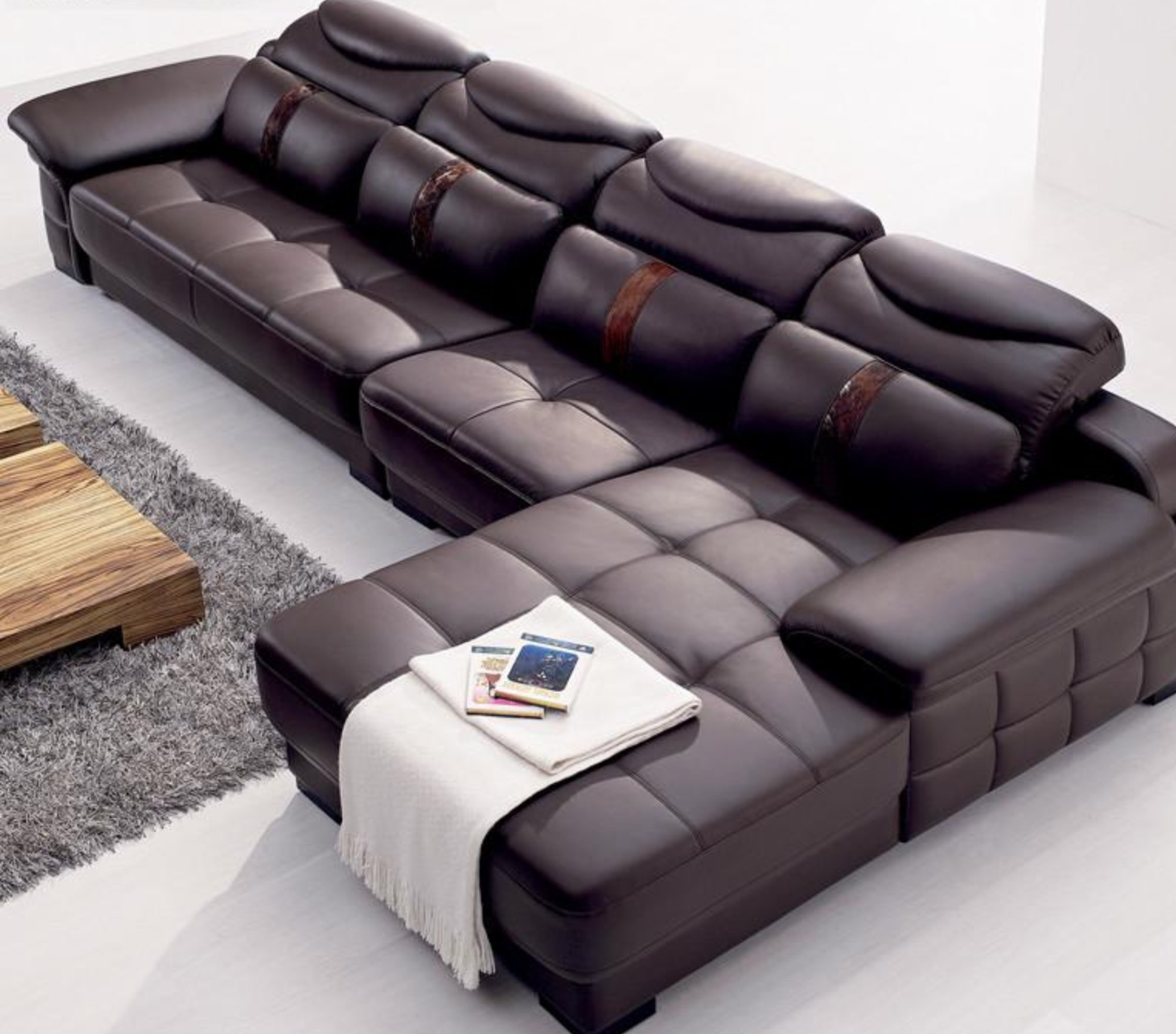 Mobly Sofa Chaise Modern Italy Genuine Real Leather Sectional Corner Furniture In