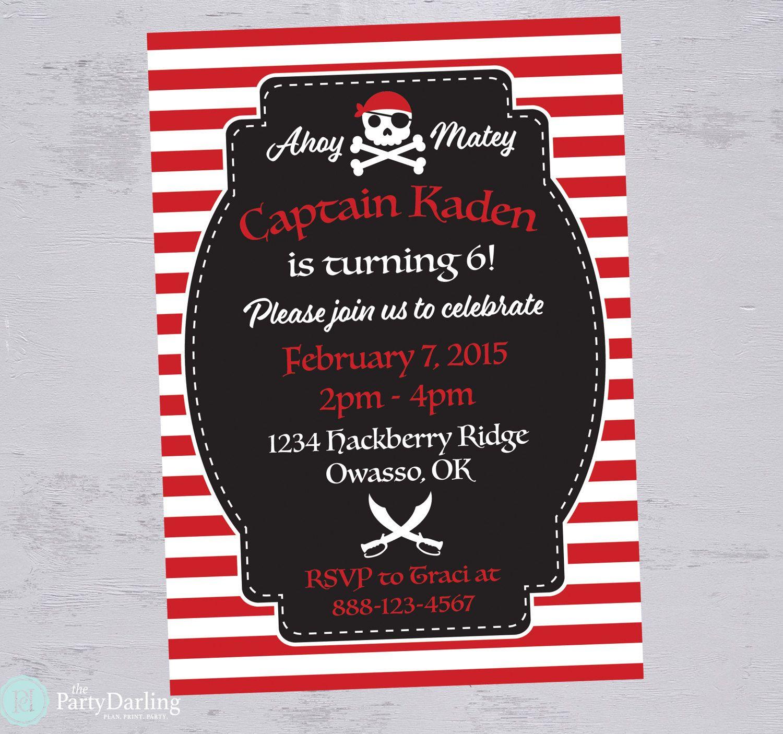 Pirate Birthday Invitation | Pirate Birthday Party | Pirate Party ...