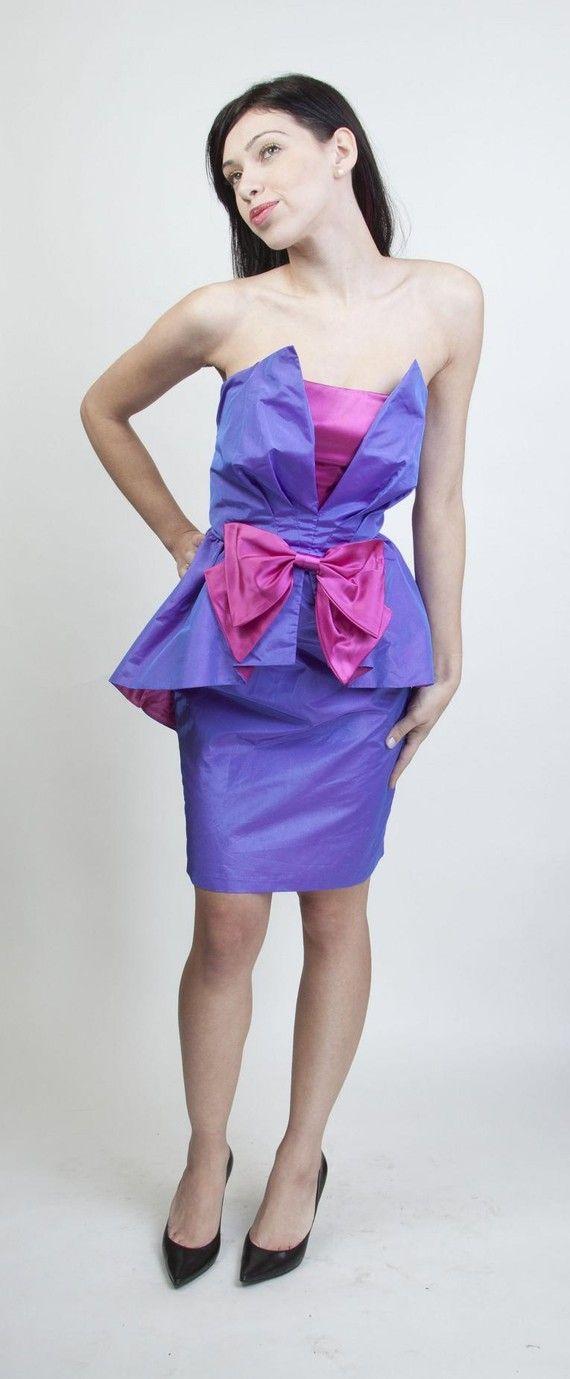 Vintage 80s Avant Garde purple periwinkle and fuschia magenta pink ...
