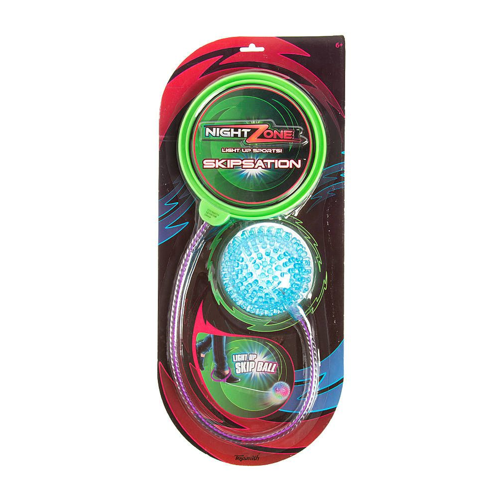 """<P>Light up the fun with this Skipsation""""! light up skip ball. Simply put the ring on your ankle and start the ball rolling. Spin and jump as long as you can.</P><UL><LI><B>Online only item</B><LI>3 1/2""""D<LI>Batteries are inaccessible and nonreplaceable<LI>Plastic</LI></UL>"""