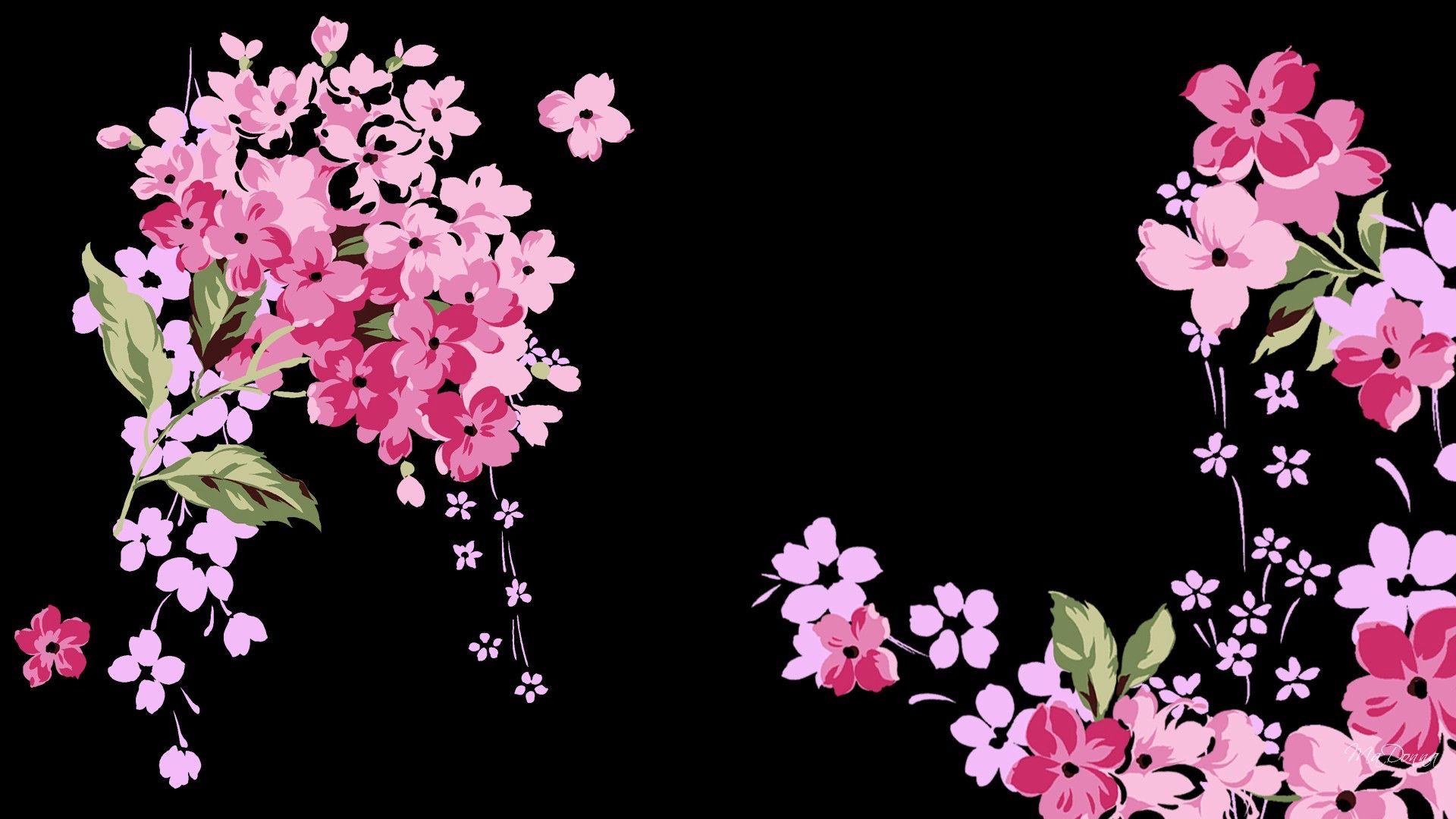 Pin By Julia Hart On Black Wallpaper Pink Floral Wallpaper Black Floral Wallpaper Floral Wallpaper Desktop