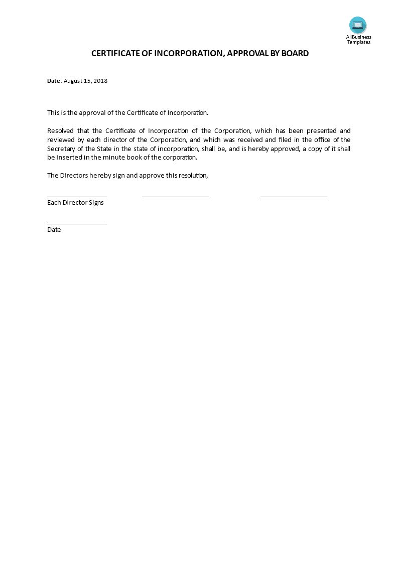 Certificate Of Incorporation Board Acceptance Templates At For Certificate Of Acc Certificate Of Achievement Template Business Template Template Certificate