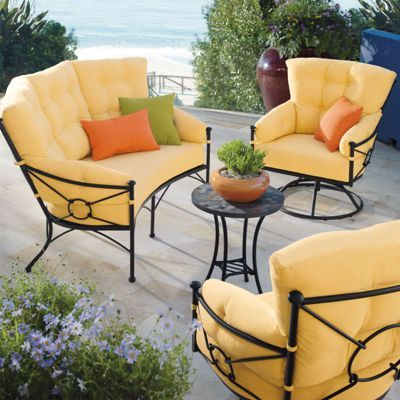 Kennedy Outdoor Seating in Cornsilk, the color of the sunshine.  Solid wrought-iron furniture with indulgent cushioning - perfect for an afternoon with friends on the patio.