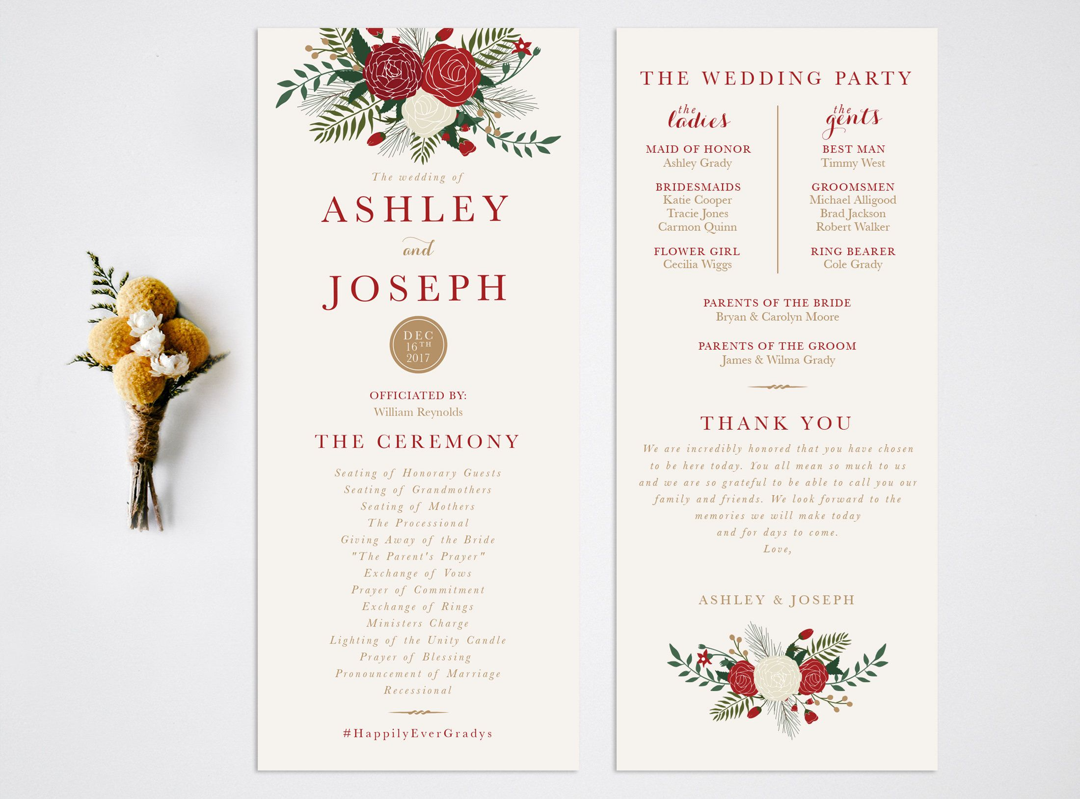 wedding program christmas wedding program order of ceremony rustic